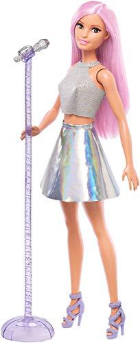 Barbie- carriere pop star con microfono bambola capelli rosa e abiti argento, giocattolo per bambini 3+ anni, fxn98