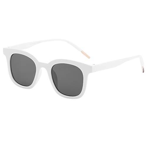 fazry Herren Damen Einfach Mode Jahrgang Flacher Spiegel Mode Brille Brillen Sonnenbrille(Weiß)