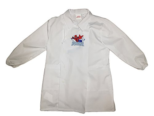 Grembiule scuola bimbo con bottoni spiderman marvel nuova collezione bianco e cielo art. g034 (60, bianco)