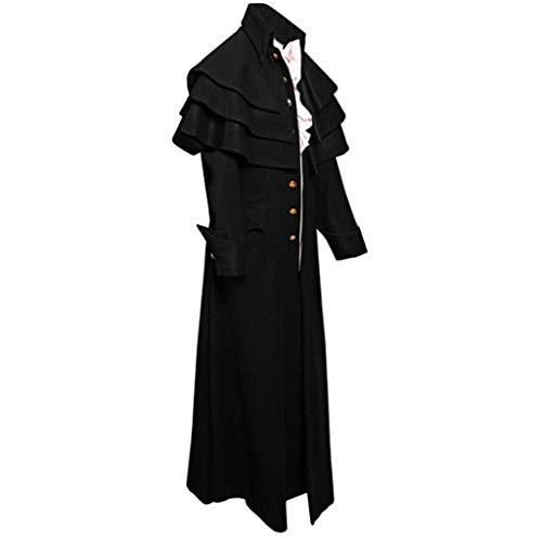 Kostüm Tailcoats - Riou Herren Gothic Mantel Steampunk Frock Vintage Lang Tailcoat für Winter Karneval Halloween Cosplay Kostüm Parka Jacke Uniform Mantel