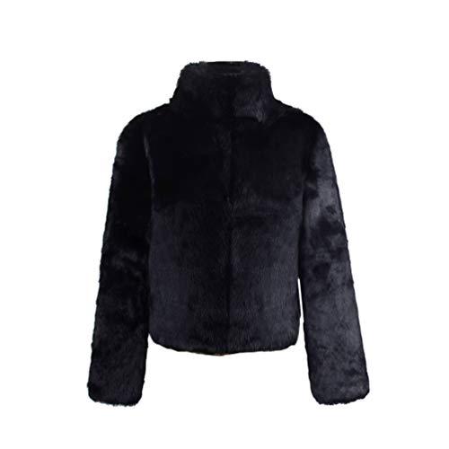 Yuandian donna autunno e inverno casuale colore solido collare del basamento maniche lunghe cappotto in pelliccia sintetica ecologica morbido caldo giacca a finta pellicce giubbino nero m