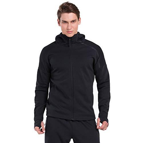 SEEU Herren Long Jacket Atmungsaktiv Softshelljacke Lauf Jacke Longsleeves Shirts, Schwarz, L