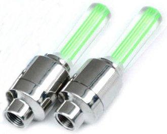 EDELSIGN - 2x LED Ventil Kappen GRÜN, Reifen Beleuchtung, Speichen Licht, für Fahrrad Felgen Auto Bike (green/grün) Valve Caps