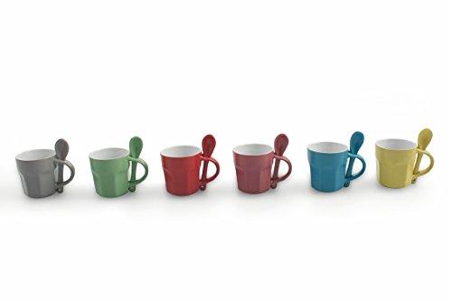 Villa d 'Este Home Tivoli Colors Juego 6Tazas Café con cuchara, cer