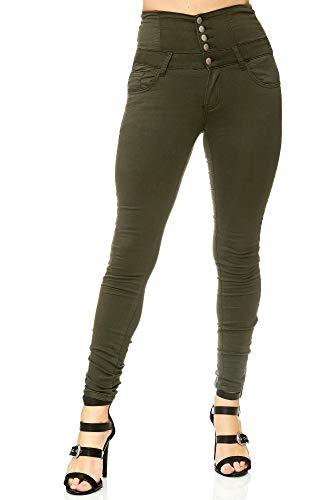 Elara Damen Stretch Hose | High Waist Jeans| Skinny | hoher Bund | Slim Fit | Chunkyrayan Y5163 Khaki 40