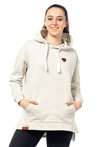 Sweater Damen Pullover Warmer Pulli kuschlig Sweat-Shirt Hoody Kapuzenpulli Streetwear 515 (Ecru-Beige, ()