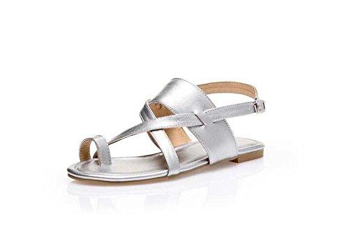 Beauqueen Sandalen Frauen Frühling und Sommer Flat Plain Weiblich Schwarz Braun Silber Freizeit Urlaub Schuhe Special Größe Europa Größe 32-48 Black b8PA7