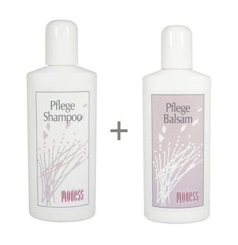 Perücken Pflegeset Modess Shampoo + Balsam je 250 ml für Kunsthaar & Echthaarperücken, Haarverlängerungen Extensions Haarsysteme Haarteile