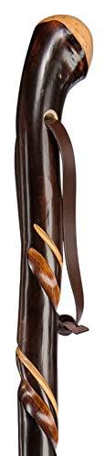 Gehstock ZIEGENHAINER Wurzelknauf, Wanderstock aus europäischem Kastanienholz mit handpolierter Wurzel, mit doppelt gedrehter Schmuckfräsung veredelt, inklusiv vernickelter Bergstockspitze als Abschluss.