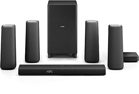 Philips Zenit CSS5530B/12 kabellose Surround-Kinolautsprecher (Subwoofer, Bluetooth, NFC, HDMI 4K-2K) schwarz