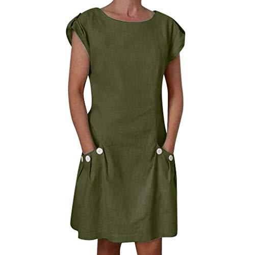 r Damen Baumwolle Leinen Langes Shirt Casual Locker Tunika Ärmellos T-Shirt Kleid Rundhalsausschnitt Tank Kleider Kurze Partykleider Mit Button Und Taschen ()