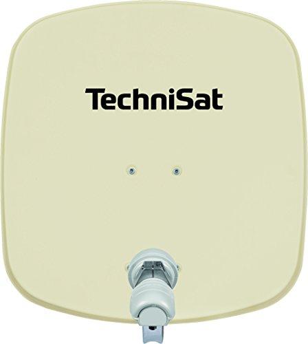 TechniSat DIGIDISH 45 Satellitenschüssel, 45 cm Sat-Anlage mit Wandhalterung und Universal V/H Single-LNB (Ein Teilnehmer) beige