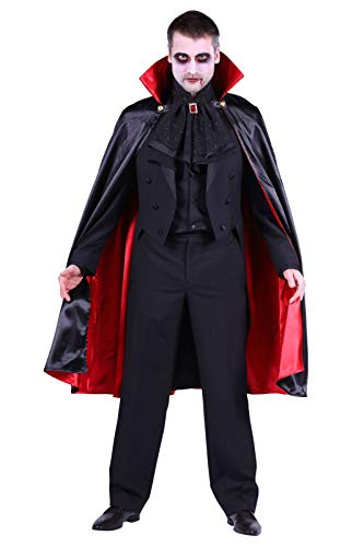 Gefüttert Satin Kostüm - Vampir-Umhang Herren Damen Schwarz Rot 110cm Gefüttert | Glänzendes Satin-Cape mit Stehkragen für Mittelalter- Gothic- & Halloween-Kostüm | Karneval Fasching Verkleidung Cosplay