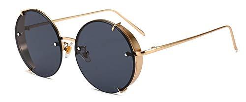 YJKHKL Steampunk Sonnenbrille Vintage Runde Brille Punk Gradient Goggle Shades Men Uv400Black