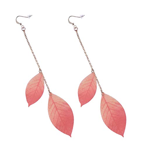 1 Pair Maple Leaf Earrings Ear Droppings Long Pendant Danglers with Double Red Leaves Pearl Skeleton Hook Elegant Jewelry Retro Style Ear Decoration for Girls Women Jewelry Ornament Gift - Lady Hook Kostüm