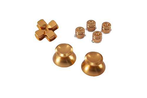 tton Analogsticks D-Pad Steuerkreuz aus Aluminium für Sony PlayStation 4 Dualshock 4 Controller Set Bundle Munition Bullets Tasten Kappen Zubehör Patrone Mod Custom PS4 Thumbsticks Analog Sticks Knöpfe Tuning - GOLD ()
