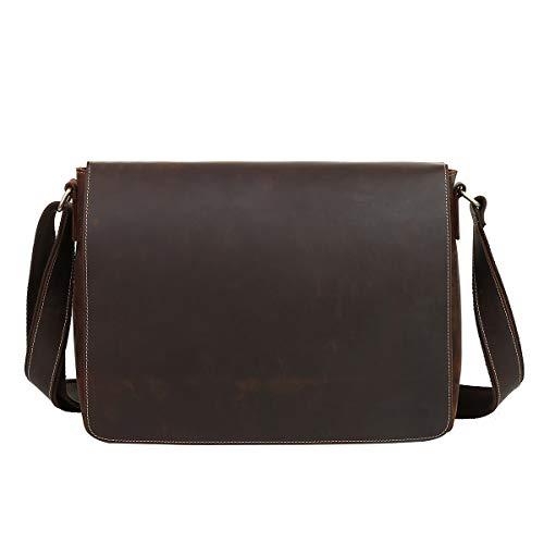 Leathario Borsa a Tracolla in Pelle da Uomo per Lavoro a Spalla Messenger Bag Vintage Porta PC Laptop 14 Pollici per Ufficio Università caffè