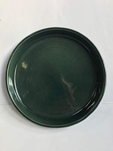 K&K Keramik K & K sous coque/soucoupe ronde pour pot de fleurs venus II avec et sans anses - Ø 16 cm Vert 19 x 15 cm en grès (Céramique Haute Qualité)