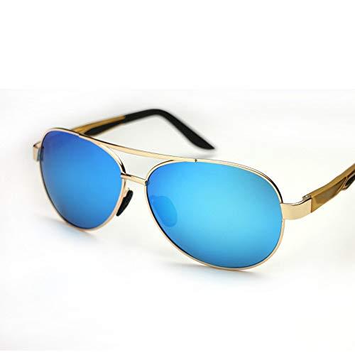 LLQ Sonnenbrille polarisiert Aluminium-Magnesium männlichen Retro-Fahrspiegel, Goldrahmen eisblauen Tabletten