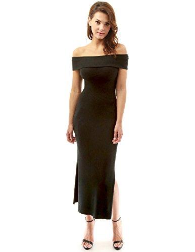 PattyBoutik Damen Aus Schulter gerippt Split Strick Kleid (schwarz 34/XS)