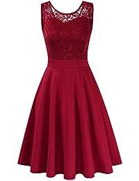 Clearlove Damen Kleider Elegant Spitzenkleid 3/4 Ärmel Cocktailkleid Rundhals Knielang Rockabilly Kleid