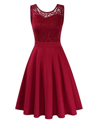 Clearlove Elegant Kleid aus Spitzen Damen Ärmellos Unregelmässig Cocktailkleider Party Ballkleid, XXL,   Weinrot -