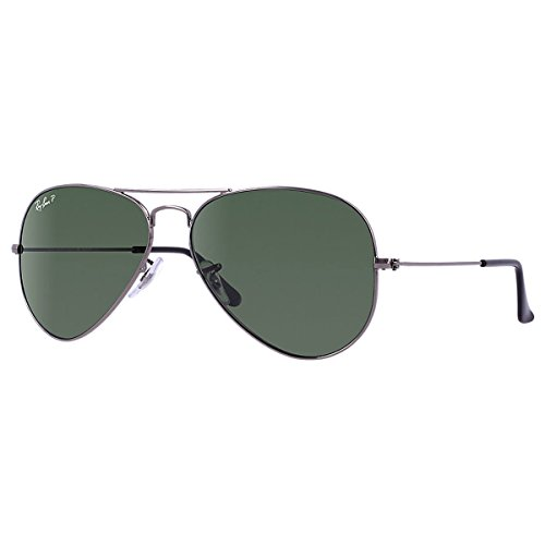 Ray-Ban - Occhiali da sole Aviator Large Metal Aviatore, GUNMETAL CRYSTAL GREEN POLARIZED