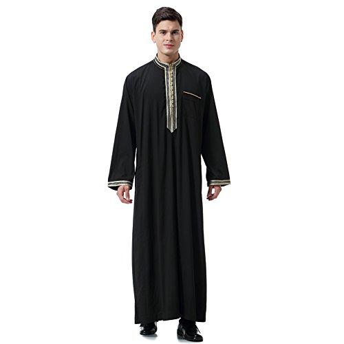 Männer Muslim Kostüm - Gyratedream Thobe Männer Thobe Mens Arabic Muslimische Kleidung Herren Thobe mit Langen Ärmeln Arabisch Muslim Wear Dubai Thobe Daffah Sultan Saudi Roben Nahen Osten Traditionelle Kostüm