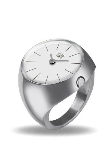 Davis - Ring Watch 2001M - Ringuhr Damen Saphirglas Gewölbt - Ziffernblatt Weiß Stabzeiger - Größe 55