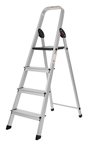 Bathla Advance Carbon - 4 Step Foldable Aluminium Ladder with Scratch Resistant Smart Platform and Sure-Hinge Technology (Silver and Black)...