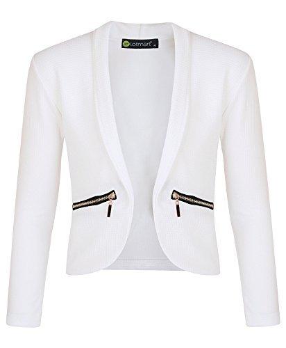 LotMart Mädchen langärmlig offene Vorderseite Reißverschluss Tasche Jacke Kinder Blazer Strickjacke TOP - Weiß, 146-152 (Kleid Blazer Jacke)