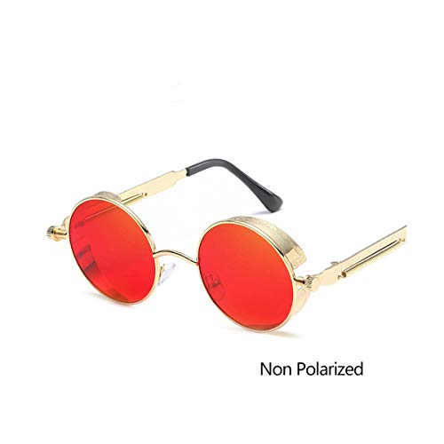 DYFDHA Sonnenbrillen Vintage Round Polarized Sunglasses Retro Steampunk Sun Glasses For Men Women Small Metal Circle Driving Glasses UV400 C6GoldRed