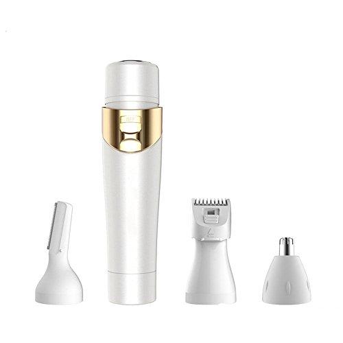 Batteriebetriebene Multifunktions Elektrische Vier-In-One Dame Rasierer Weibliche Epilierer Augenbraue Trimmer Nasenhaarschneider Weiß Nicht Wasserdicht -