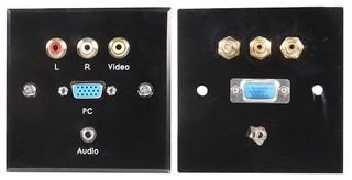 WALLPLATE, VGA + MULTIMEDIA, BLACK STEEL PSG03796 By PRO SIGNAL Vga-steel Wall Plate