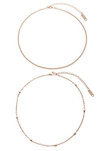 Happiness Boutique Damen Choker Set im Zarten Design Rosévergoldet | 2 Minimalist Ketten Dezenter Schmuck in Roségold (Besten Duo Kostüme 2017)