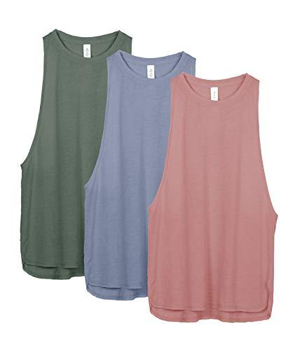 icyzone Sport Tank Top Damen Locker - Yoga Fitness Shirt Racerback Oberteile atmungsaktive (M, Dusty Pink/Country Blue/Smoke Pine)