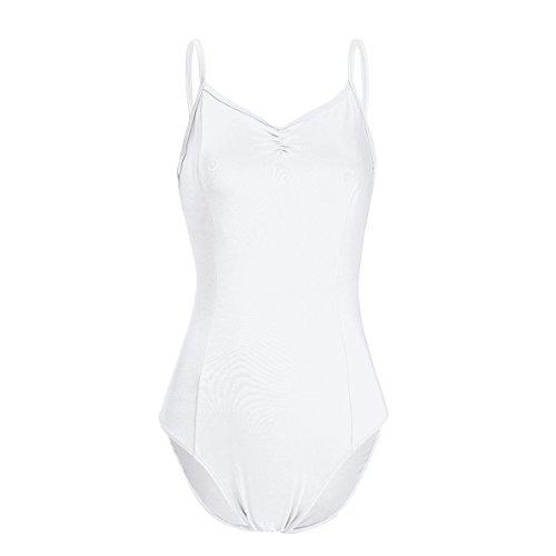 iEFiEL Damen Ballettanzug Body Top Unterhemd Ballett trikot Bodysuit Achselhemd mit Spaghettiträgern (XS, Weiß (5C-122)) (Weißes Kleid Anzüge)