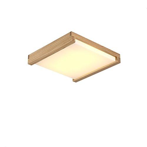 Deckenleuchte Deckenlampe Holzlampe LED Deckenleuchte Holz Protokolle Treibholz Rustikal Massivholz Landhaus Holzoptik Deckenlampe Wohnzimmerlampe Schlafzimmerlampe Lampen Japanisch Für Schlafzimmer Viereckig Decke Lamp ( Color : Warmes Licht , Größe : 37CM 16W )