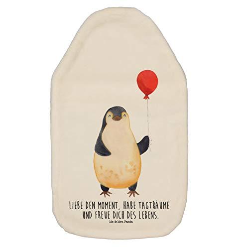 derwärmflasche, Wärmekissen, Wärmflasche Pinguin Luftballon mit Spruch - Farbe Weiß ()