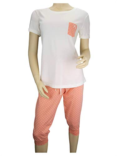 Damen Schlafanzug Pyjama 3/4 Caprihose Kurzarm Baumwolle (40/42 M)