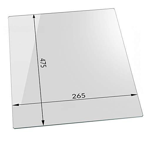 Kühlschrank Einlegeboden von Temprix/Glasscheibe für Gemüsefach/Ersatzglas für Kühlschrank - Klar transparent - 475 x 265 x 4 mm | Profiqualität | Sondermaße auf Anfrage - Glasscheibe24