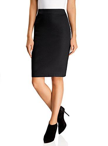oodji Collection Mujer Falda Recta, Negro, ES 42 / L