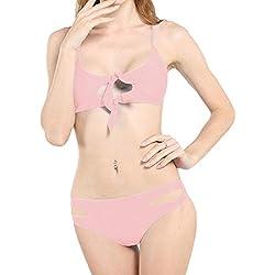 KPILP Sexy Bikini Femme Maillots de Bain 2 pièces Printemps et été La Mode Les Loisirs Taille Basse Couleur Unie Noué Coupe Slim Maillot de Bain Fendu Sportif (Rose,FR-36/CN-S)