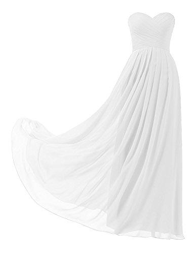 HUINI Ballkleider Trägerlos Schulterfrei Chiffon Lang Brautjungfernkleid Abendkleider mit Schnürung Falten Promkleid Partykleid Hochzeit Cocktail Kleider Weiß 34 - Weiße Ballkleid Hochzeit