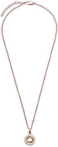 JEWELS BY LEONARDO Damen Halskette klein Matrix Edelstahl/roségold Glas klar 40 cm Karabinerverschluss Anhänger Ankerkette 015567