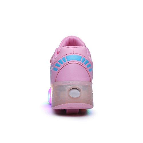 SGoodshoes Unisexe Enfants Fille Garçon LED Chaussures à roulettes Patins Sneakers Clignotant Sport Chaussures Patins Baskets Sneakers Rose deux roues
