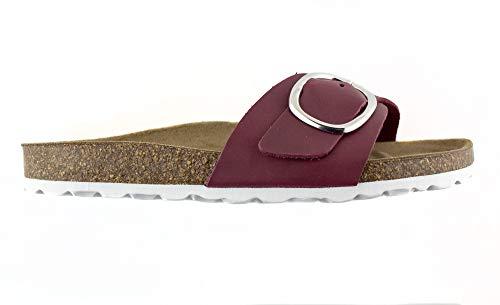 Sandalias de Verano para Mujer en Piel Color Burdeos, cierre con hebilla y planta BIO de piso plano...