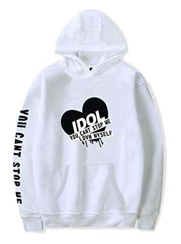 SIMYJOY BTS Kapuzenpullover KPOP Idol Love Yourself Answer BTS Fans Damen Hoodie Leicht dünn Sweatshirt Locker Cool Oberteile Für Männer Frauen Jungendlichen Weißes M