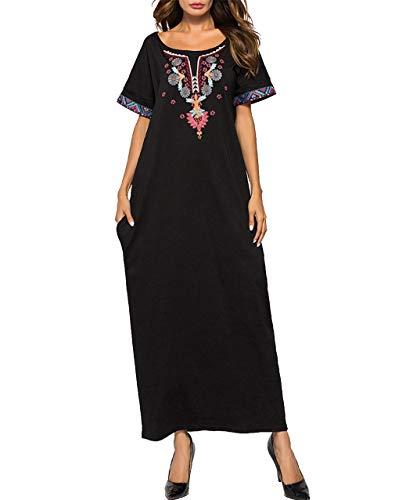 b359fffa7e Vestido Mujer Musulmán Largo Kaftan - Abaya Dubai Ropa Islámica Bata Arabe  Bordado de Manga Corta