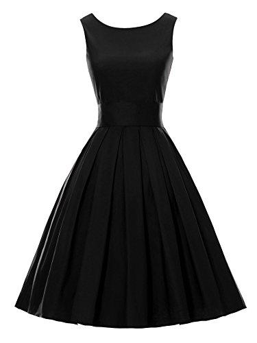 Melansay Vintage 1950's Audrey Hepburn swing robe de soirée cocktail Noir